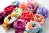 2014 NEW Arrival 13 Colors Fashion Spring Women Long Voile  Shawls Multicolor Scarves Wholesale Price PWS023
