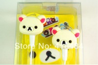 cartoon Cute Rilakkuma Bear monkey cat In Ear Earphones 3.5mm Bass Headset For ipod iphone MP3 MP4 MP5 Mobile Phone 20pcs