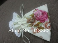 New Arrival!Free Shipping(100pc/Lot)Fresh Countryside Wind!Cream Cotton Floral Pattern Rect.Wedding Favor Bag,w/Trimming,Ribbon