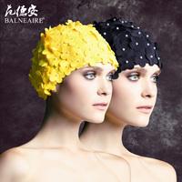 Fashion petals short hair swimming cap handmade three-dimensional flower ear cloth swimming cap