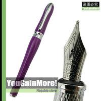 Duke 600 Lady Series Purple Barrel Fountain Pen Medium Nib Silver Trim