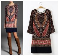 New 2014 spring/summer women Vintage Floral Printed party dresses Knee-Length girl print dress brand flower dress Free Shipping