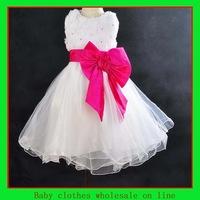 Wholesale baby girl dress princess big bowknot dress children clothes kids dress baby wedding dress