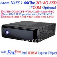 Hot Sale Mini-ITX Gaming PC with fan Intel Atom N455 processor single-core 1.66G COM LPT ICH8M Express Chipset 2G RAM 8G SSD