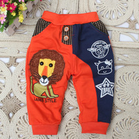2014 new children's clothing Korean Baby and children 0-1-2-3 year old baby lion cartoon casual trousers pants A129
