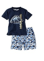 Children's Casual Shorts Set Kids' T-Shirt+Short Set Clothes Toddlers' Cartoon Shorts Suits 5 sets/lot Free Shipping