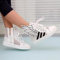 New 2014 breathable sneaker women high top sneakers shoes within the higher wing hip-hop shoes casual shoes patent leather shoes
