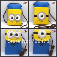 Hot Selling Cartoon Despicable Me Minions Design mobile Phone Bags For Large size phone whosale 10 PCS/LOT free shipping