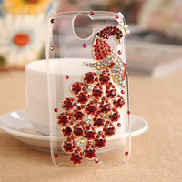For HTC one S Rhinestone mobile phone case - Peacock