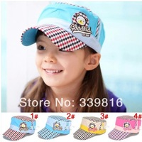 2014 New Arrival Boy/Girl's Adjustable Plaid Bear Baseball Hats for Kids 2-8 Years Sunbonnet Caps