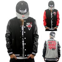 West coast gangsta bulls personality casual bull leather jacket hip-hop outerwear hiphop baseball uniform sweatshirt