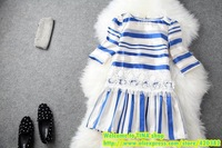European Grand Prix 2014 ladies spring and summer Lei Siou organza stripes hit the color stitching temperament dress T1377