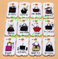 12pcs Luxurious Lady Handbag Shoulder bag Purse Pattern TPU Back Cover Case for Samsung Galaxy S3 mini i8190 Free Shipping