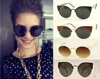 2014Latest Trends Girls Fashion Super Round Metal Circle Cat Eye Retro Sunglasses GLFree Shipping