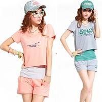 Shorts sportswear women's three pieces set fashionable casual set female summer sports set summer Women