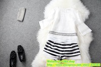 European women's spring and summer fashion ladies stand beaded fringes fifth sleeve shirt + shorts suit T1379