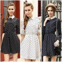 New 2013 Casual Fashion summer Modern Office Ladies Chiffon Long Sleeve Slim Lapel printed Dot Dress women