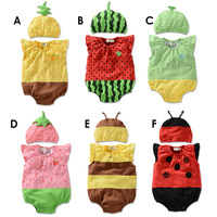 Free Shipping Hot 2014 children wear baby suits New Baby boy rompers summer fashion baby fruit Romper + hat children 2pcs Retail
