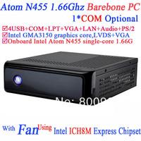 Barebone mini pc computer thin client with fan Intel Atom N455 processor single-core 1.66G COM LPT ICH8M Express Chipset