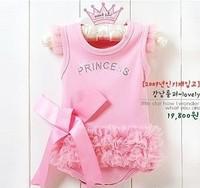 2014 New Baby girl rompers baby lace sleepsuitYarn Skirt Pink  with TUTU Style bebe rompers infants Romper baby wearing