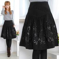 Women's fashion elegant woolen medium-long all-match black embroidered skirt a bust 7