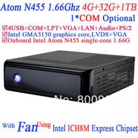 HTPC Mini PC Terminal with fan Intel Atom N455 processor single-core 1.66G COM LPT ICH8M Express Chipset 4G RAM 32G SSD 1TB HDD