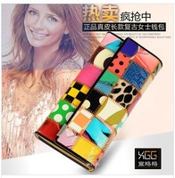 Factory direct new European leather wallet Ms. Long hit color stitching leather wholesale leather
