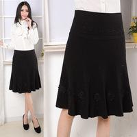 2014 plus size clothing all-match a medium skirt embroidered bust skirt 8 diamond
