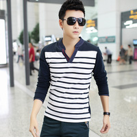 2014 spring men shirt male t shirt basic men's t blood male long-sleeve t shirts V-neck trend