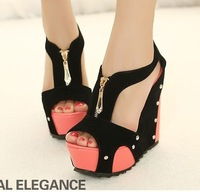 Ladies Sexy Platform High Heels Wedges Sandals Summer Shoes Women Pumps With Front Zip Wholesale Dropshipping MRA89-7NF