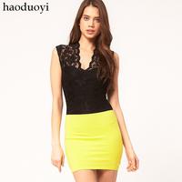 Fashion sexy basic lace scalloped lace sleeveless vest haoduoyi