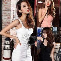 2014 Sexy Women's Summer Punk zipper spaghetti strap slim one-piece Night Club dresses,Free Shipping