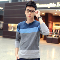 2014 winter male slim plus velvet thickening 100% sweater cotton sweater fashion color block decoration male sweater