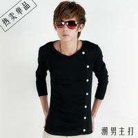 2014 autumn V-neck male long-sleeve T-shirt 100% cotton basic shirt male shirt slim male t clothes