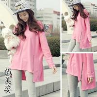 2014 spring candy color thin cotton 100% side zipper loose long-sleeve medium-long sweatshirt t-shirt female