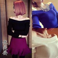 2014 spring ladies sexy strapless slim long-sleeve basic sweater woolen short skirt