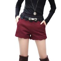 2014 woolen shorts spring and autumn boot cut jeans woolen women's high waist shorts legging