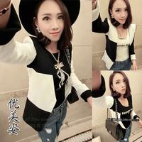 2014 spring ladies ol elegant all-match medium-long black-and-white long-sleeve slim outerwear blazer