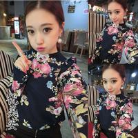 2014 spring women's sweet fashion vintage flower slim bubble pullover long-sleeve chiffon shirt