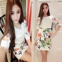 2014 spring and autumn ladies sexy elegant half sleeve print slim hip slim one-piece dress