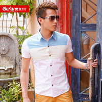 Male 2013 summer short-sleeve shirt casual shirt slim color block shirt male shirt