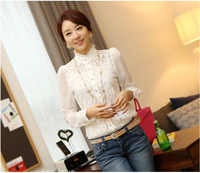 2014 Spring New Style Slim Blouse Women's Long-Sleeved Chiffon Shirt Elegant Stand Collar Fold Lace Shirt T8903