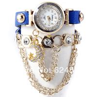 Hot Sale! Summer Fashion Latest Popular Hawaiian Style Sparkling Rhinestone Long Leather Sling Chain Quartz Watches Women