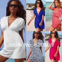 Free Shipping European version of the ladies dress deep v-neck dress beach dress beach ice Silksand sexy dress