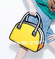 Female Bags 2d handbag/ fashion cartoon bag/ yellow canvas Hi-quality/zipper design/recreation bag