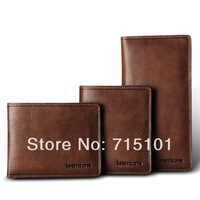 2014 New Vintage Fashion Mens Genuine Leather Wallet Cowhide Wallets For Men 3 Design Male Purse Clutch Bags Brown Khaki Color