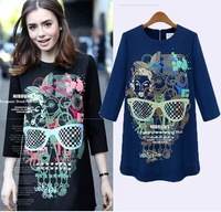 Large size ladies' fat mm2014 spring new Europe and the United States long sleeve top dress