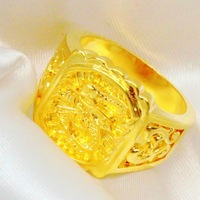Size 10.5,11,12,12.5 24k gold plated men ring fine 999 gold plated big size dragon men ring