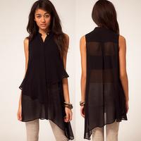 Asymmetrical sweep sleeveless black double layer chiffon shirt stand collar female shirt haoduoyi