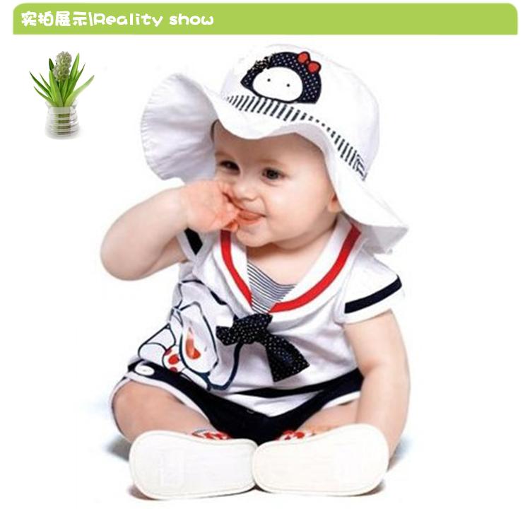 2014 verão terno novo bebê meninas 3 pcs ternos para a menina chapéu do bebê Caps tshirts do marinheiro da marinha calcinhas bebês roupas Set(China (Mainland))